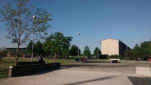 Parco San Donnino con una delle facciate destinate al progetto.