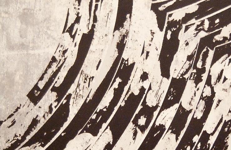 Martina Merlini, Senza Titolo, 2015 Smalto, cera, vernice spray e acrilico su legno 33x49 cm, ©Julie Seujournet